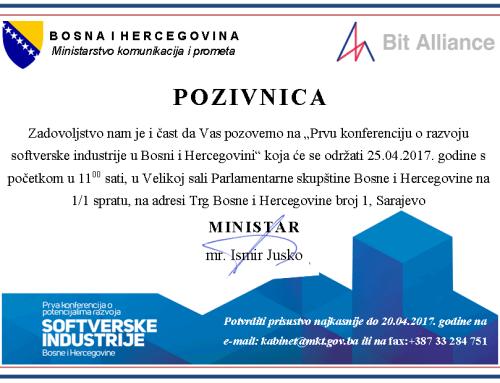 Poziv na Prvu konferenciju o potencijalima razvoja softverske industriju Bosni i Hercegovini