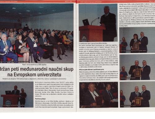 Informativni časopis STUDENT – Održan peti međunarodni naučni skup na Evropskom univerzitetu