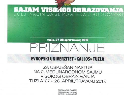 "Priznanje – Evropski univerzitet ""Kallos"" Tuzla"