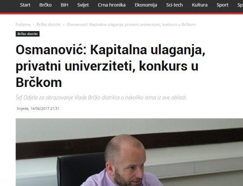Osmanović: Kapitalna ulaganja, privatni univerziteti, konkurs u Brčkom – Otisak.ba