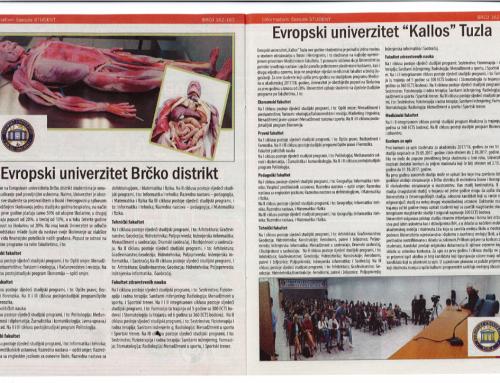 Evropski univerzitet Kallos Tuzla – casopis Student